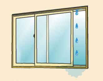 窓サッシから雨漏りイメージ